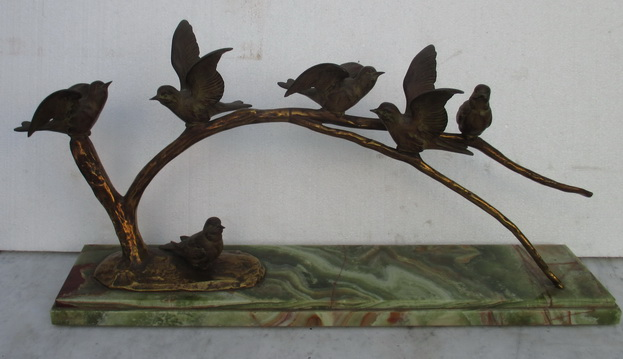 marble bronze statue with birds Guislain